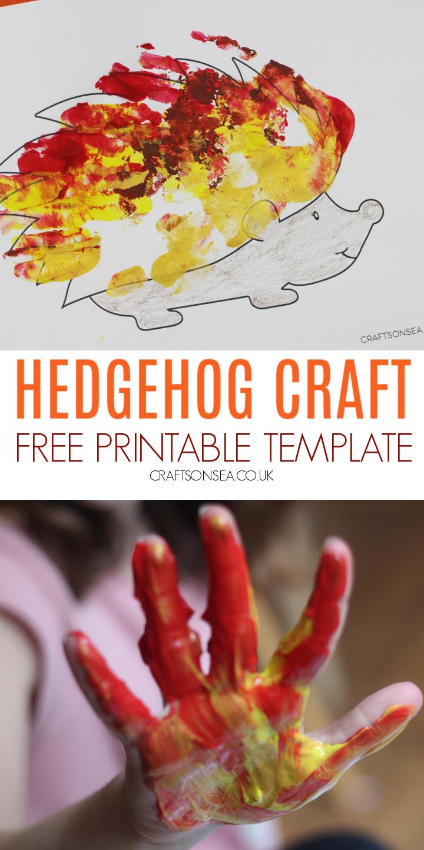 handprint hedgehog craft paper template