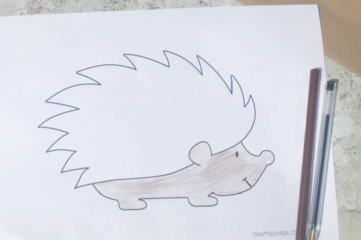 hedgehog template colouring