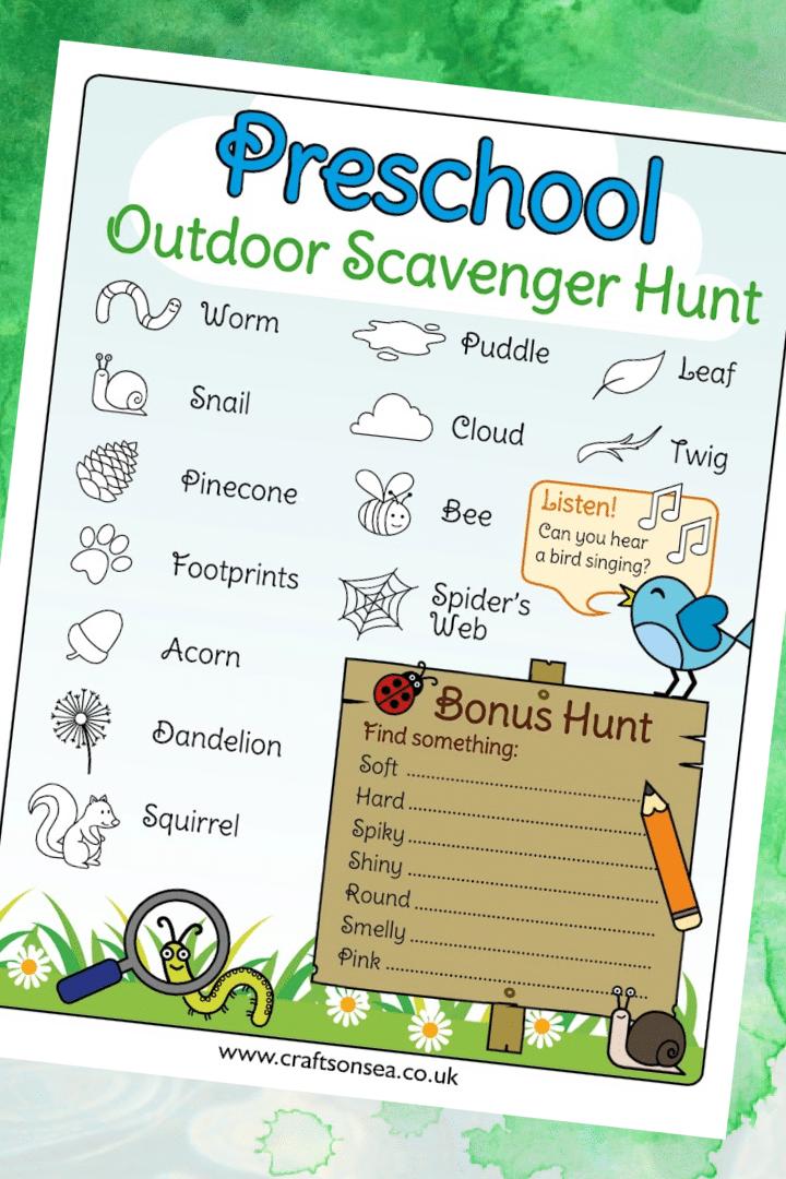 preschool outdoor scavenger hunt free printable