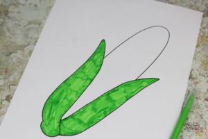 tissue paper corn craft template colouring
