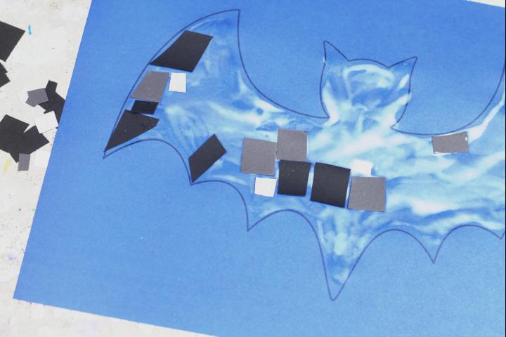bat mosaic easy halloween craft