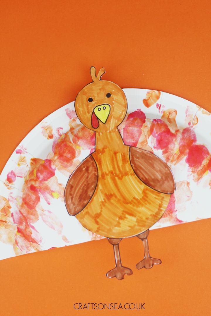 handprint paper plate turkey craft