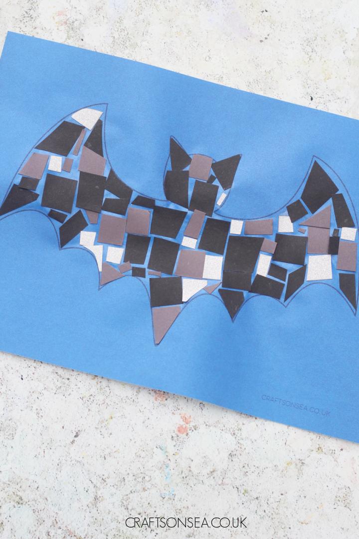 mosaic bat craft for kids